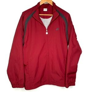 Nike Full Zip Windbreaker Jacket Size Large Maroon